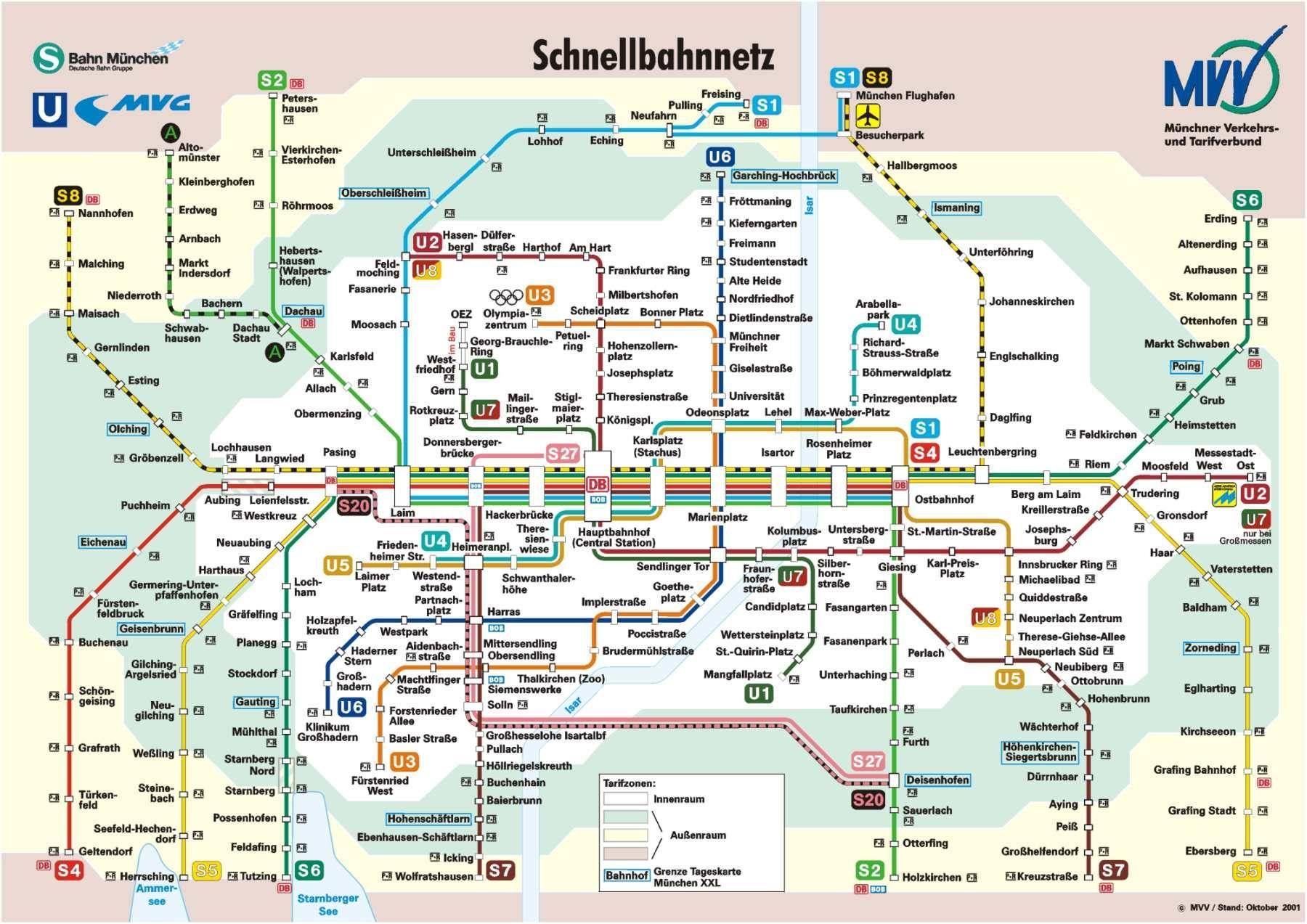 Munich rail map - Munich railway station map (Bavaria - Germany) on