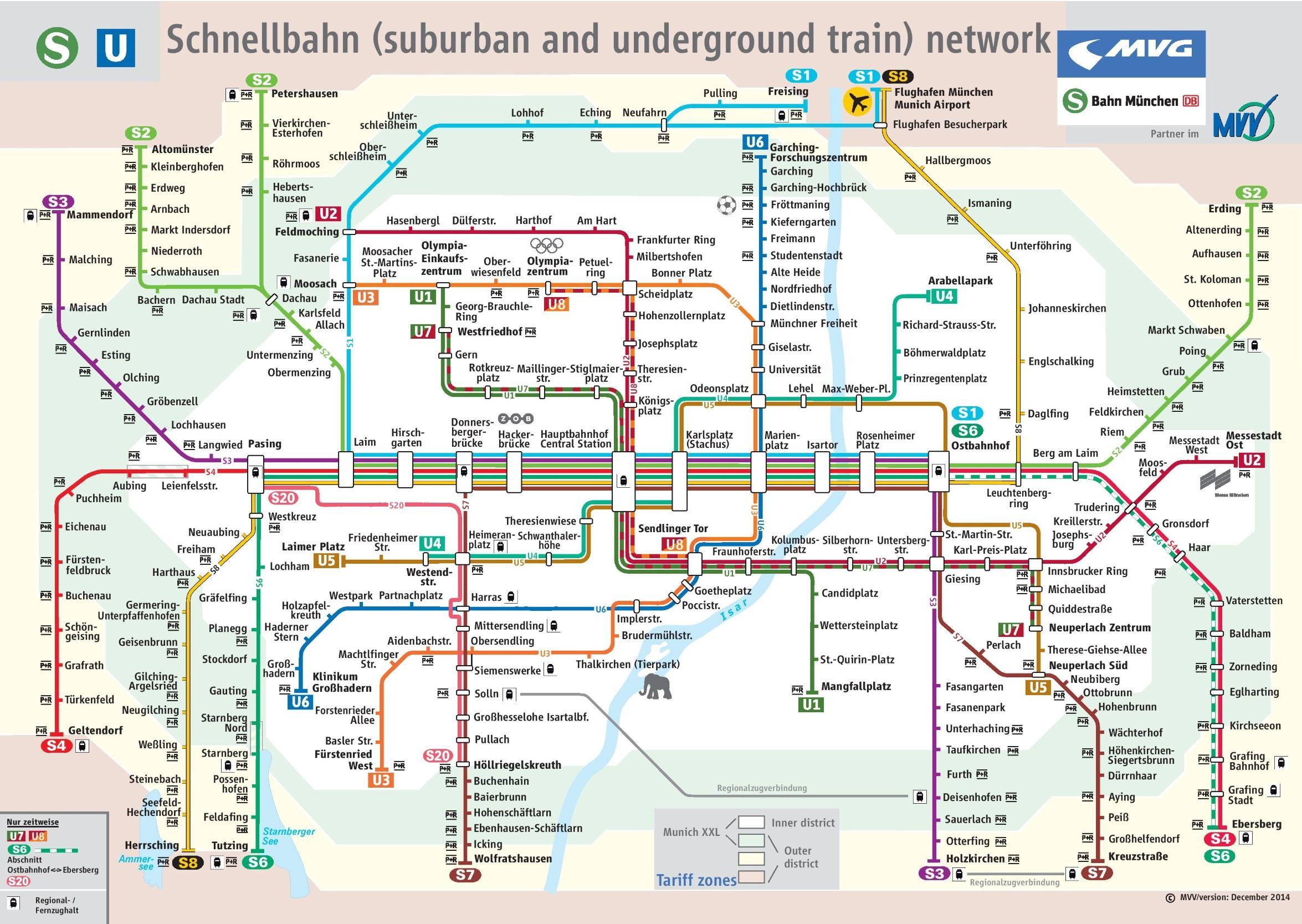 Munich train map - Munich s train map (Bavaria - Germany) on