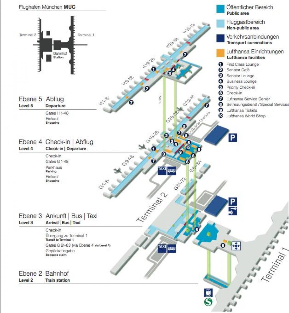 Lufthansa Airport Map Munich airport map lufthansa   Map of munich airport lufthansa
